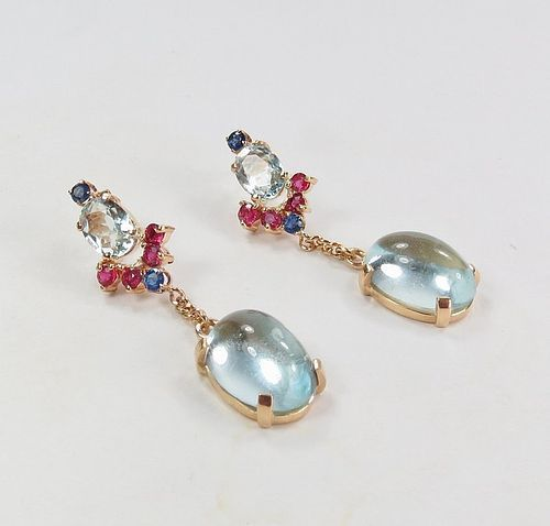 Art Deco, 14k gold, aquamarine, ruby, sapphire dangle earrings