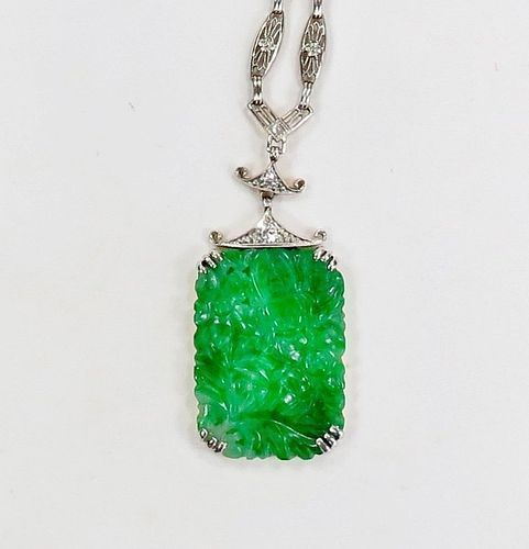 Antique, Art Deco, 18k gold, carved jadeite jade pagoda necklace