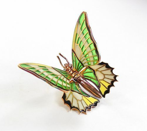 Antique Boucheron 18k gold Plique A Jour butterfly brooch pin