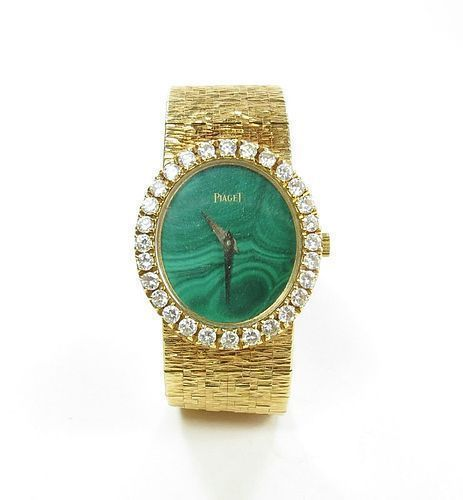 Piaget, ladies, 18k yellow gold, diamond watch, malachite dial