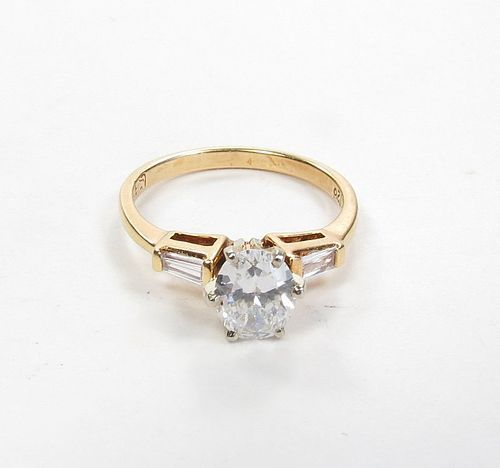 Estate, 14k gold, diamond engagement ring. F color certified
