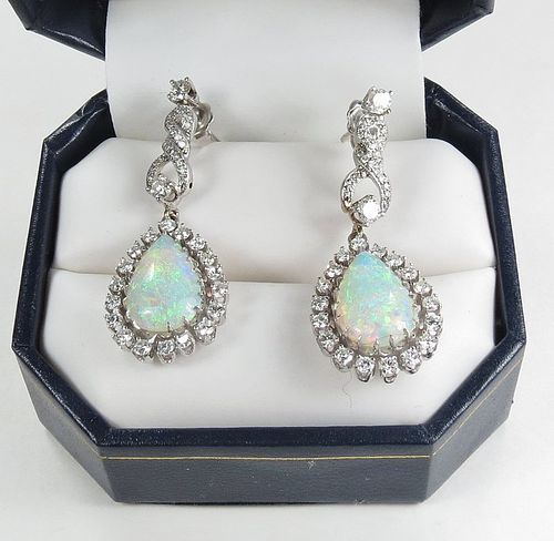 Estate, 14k white gold, Australian opal, diamond dangle earrings