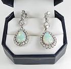 Estate, 14k white gold, Australian opal, diamond dangle earrings
