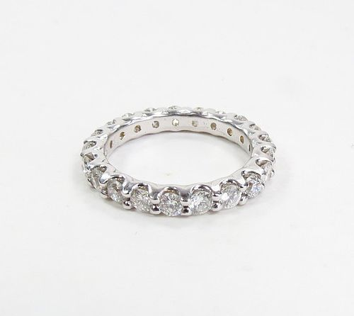 Estate 18k white gold, 1.5ctw diamond eternity wedding band ring