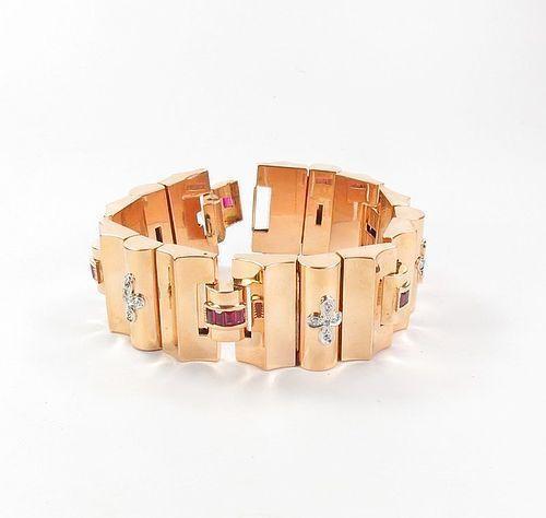 Large, Art Deco, 18k rose gold, ruby, diamond bracelet