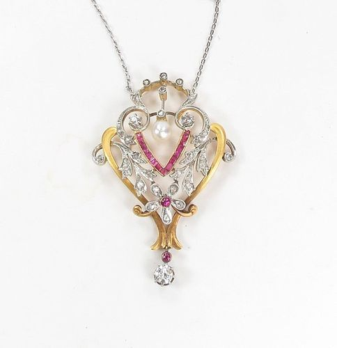 Antique, platinum, 18k gold ruby, diamond, pearl necklace