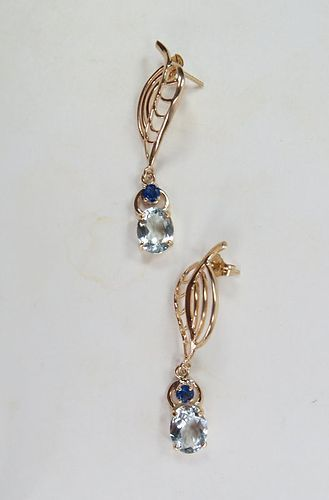 Estate, 14k yellow gold, aquamarine, sapphire dangle earrings