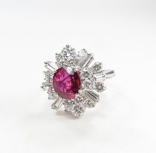 Antique, French, 18k gold, rubellite tourmaline, 2.6ctw diamond ring