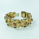 Vintage, 1950's, 18k yellow gold ruby, sapphire statement bracelet