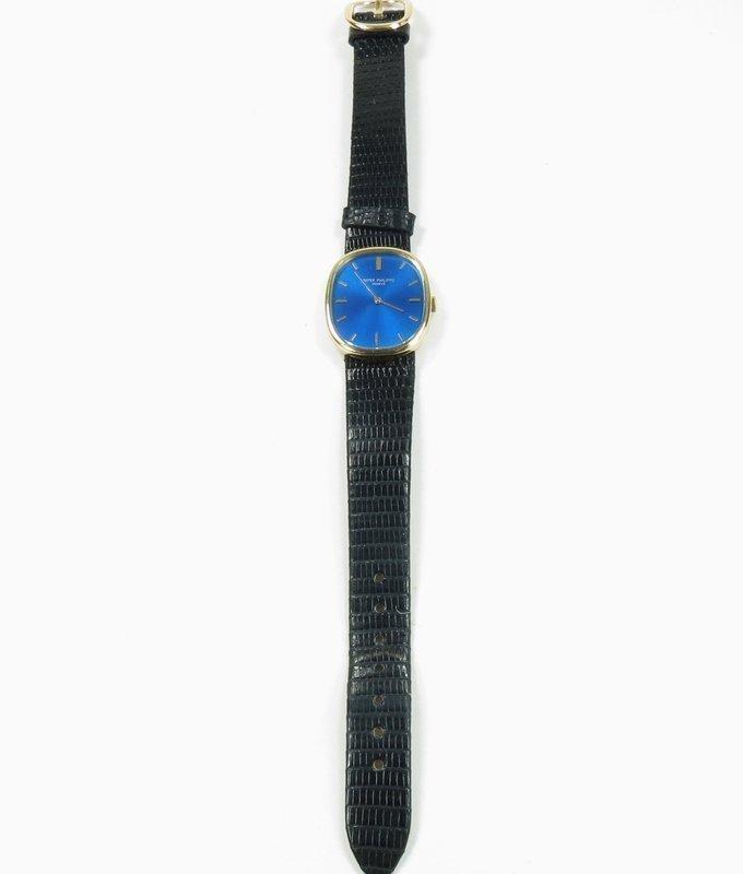 Men's Patek Phillipe Ellipse 18k yellow gold, blue face watch