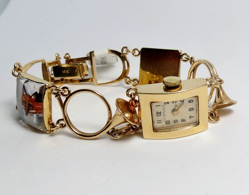 Estate, Swiss, ULMANN, 14k gold, Essex glass, watch, bracelet