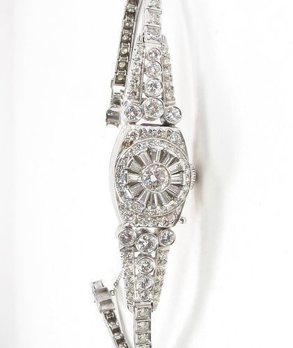 Art Deco, Hamillton platinum 4ctw diamond ladies watch bracelet