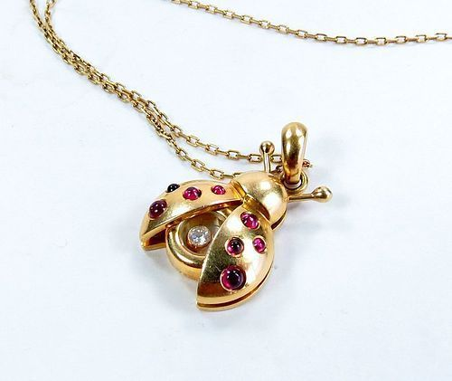 Chopard 18k yellow gold happy diamond, ruby ladybug necklace