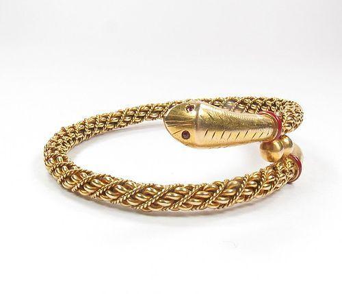 Vintage, antique, 18k yellow gold, ruby eyes, snake bangle bracelet