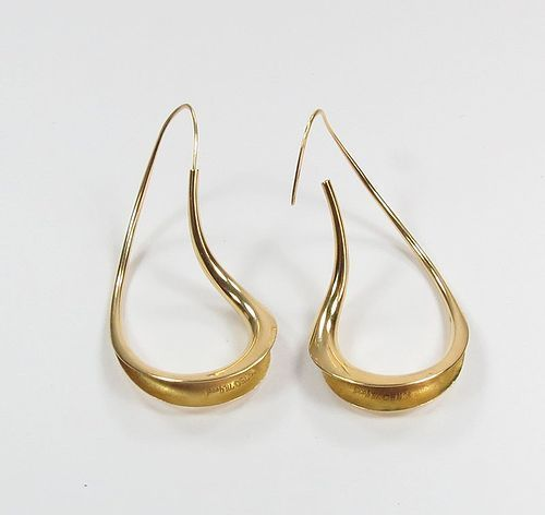 Estate, Michael Good, 18k yellow gold twisted hoop earrings