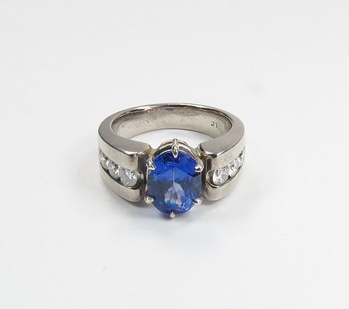 Estate, palladium, 2 ctw Tanzanite, diamond wedding ring