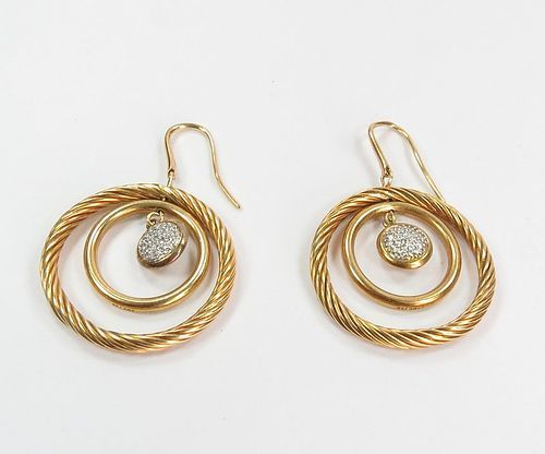 David Yurman 18k yellow gold, diamond dangle earrings