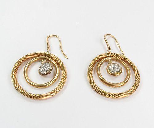 David Yurman 18k yellow gold, diamond dangle earrings
