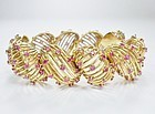 Large, vintage, 18k yellow gold and ruby statement bracelet