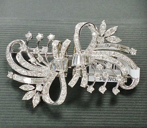 Magnificent, platinum 8ctw diamond duette brooch pin