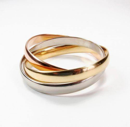 Estate CARTIER Trinity 18k 3 color gold, large model bangle bracelet