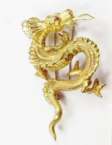 Vintage, Antique, 18k gold diamond, ruby dragon brooch pin