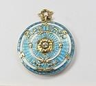 Antique, 14k gold, blue enamel, diamond locket, pendant, necklace