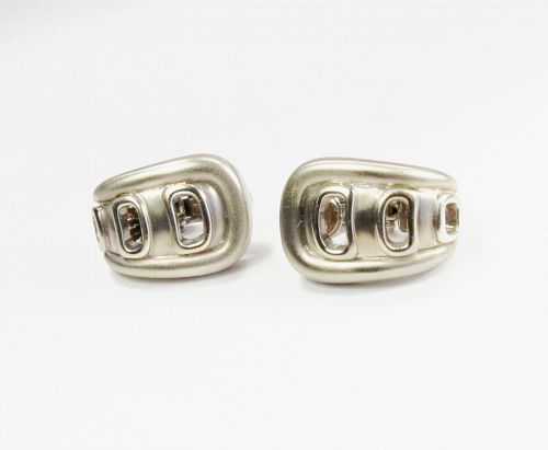 Modern, Barry Kieselstein Cord, 18k white gold earrings