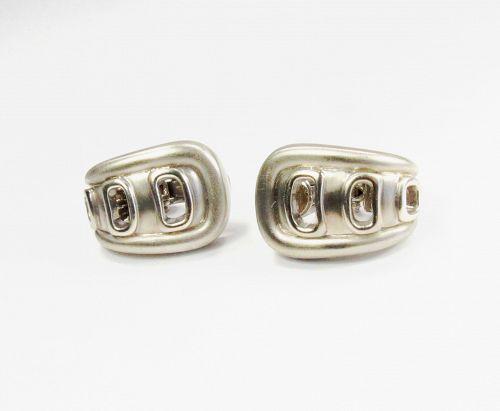Modern, Barry Kieselstein Cord, 18k white gold earrings