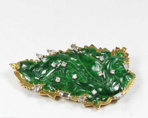 Antique, Chinese, 18k gold, carved jadeite jade, diamond brooch pin
