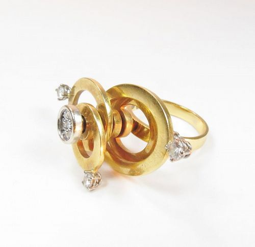 Modern, signed, 18k yellow gold, diamond spinning ring