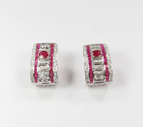 Estate, 18k white gold, natural ruby, diamond huggie earrings