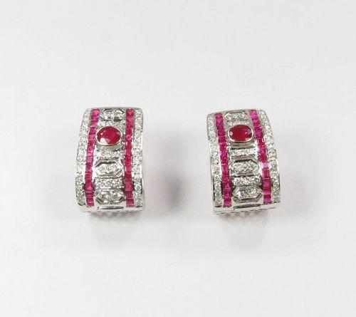 Estate, 18k white gold, natural ruby, diamond huggie earrings