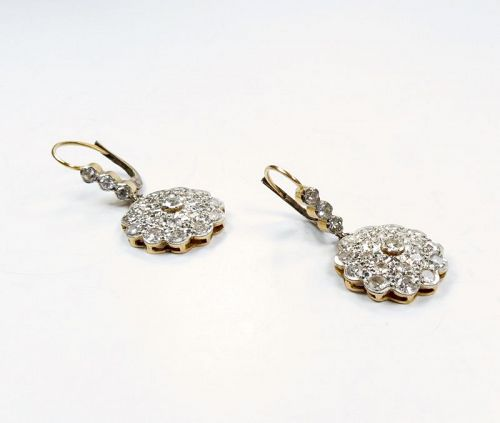 Antique, 14k yellow gold, 1.8ctw diamond dangle earrings.