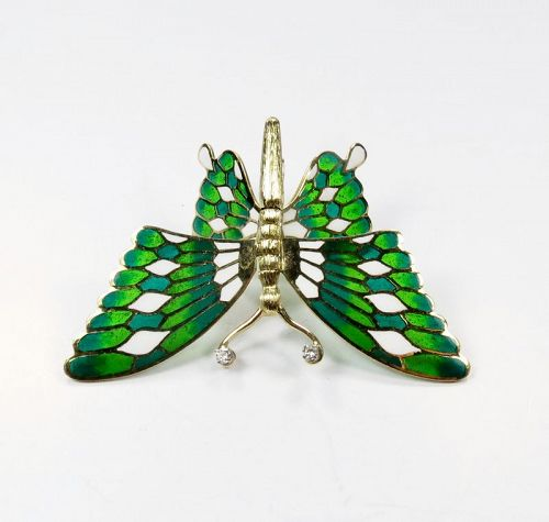 Vintage, 14k gold, Plique A Jour butterfly brooch, pin, signed Martine