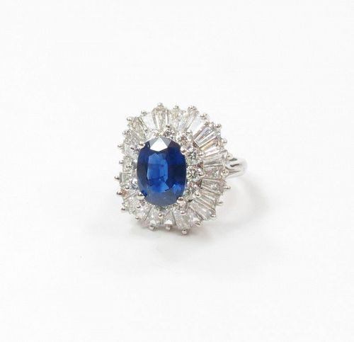 Estate, platinum, 2.7ctw natural sapphire, 3.2ctw diamond ring
