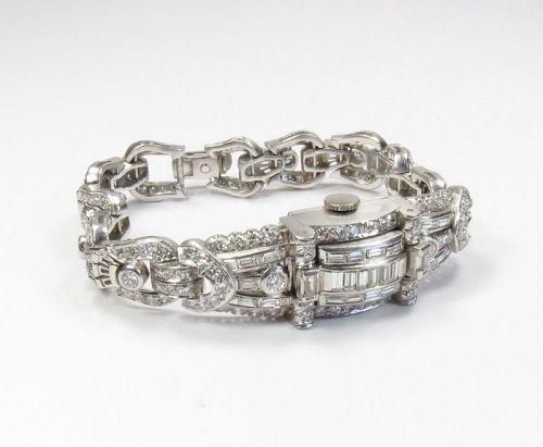 Art Deco, platinum diamond, peek a boo ladie's wrist watch