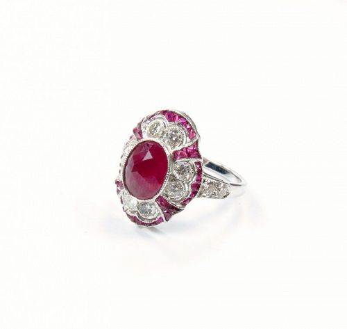 Estate, 18k white gold, natural ruby, diamond engagement ring