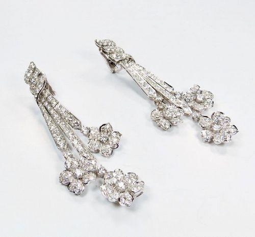 18k white gold, 16.7ctw diamond, chandelier earrings by Adler