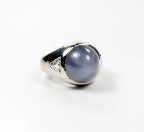 Estate, platinum, 12.3ctw star sapphire diamond ring