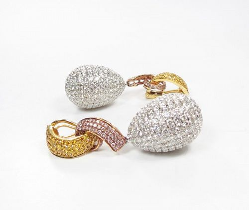 Large 18k gold 6.8ctw diamond dangle ball earrings