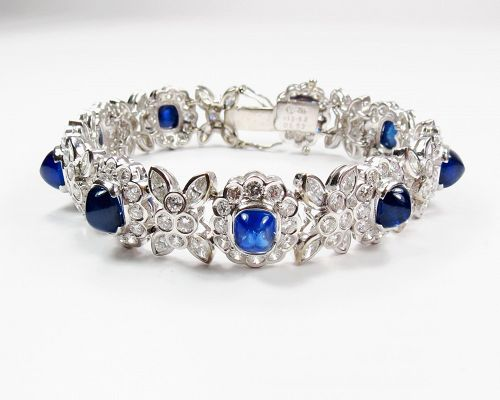 Estate, 18k white gold, sapphire, diamond bracelet