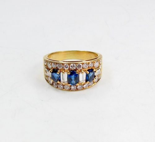 Estate, Van Cleef & Arpels 18k gold, Sapphire, Diamond ring