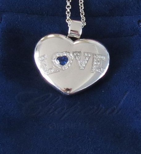 Chopard, 18k gold, sapphire. diamond heart pendant, necklace