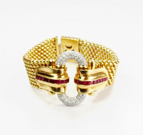 Estate, Deco, 18k yellow gold, diamond, ruby bracelet