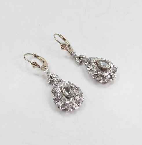 Antique, Victorian 18k gold, diamond dangle earrings