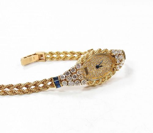 Piaget, ladie's, 18k gold diamond, sapphire wrist watch