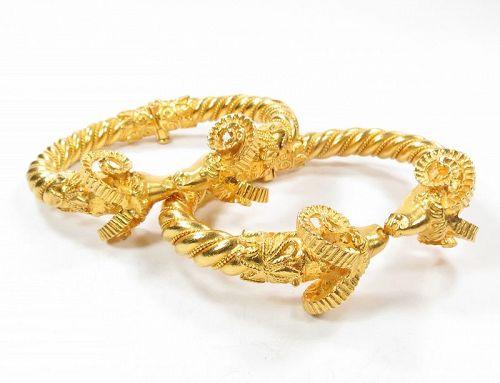 2 Signed, solid 22k yellow gold ram head's bangle bracelets