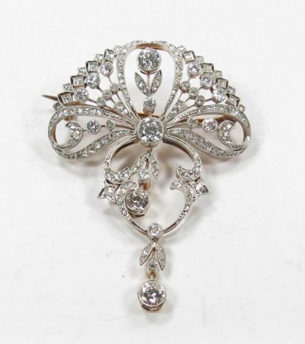 Antique, platinum, 18k gold 3ctw diamond brooch pendant