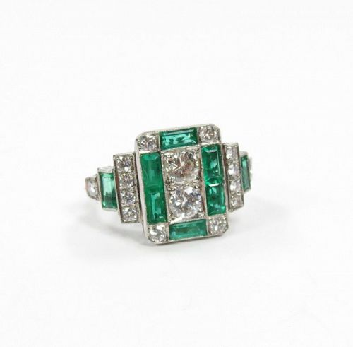 Large, Art Deco style platinum diamond, emerald ring